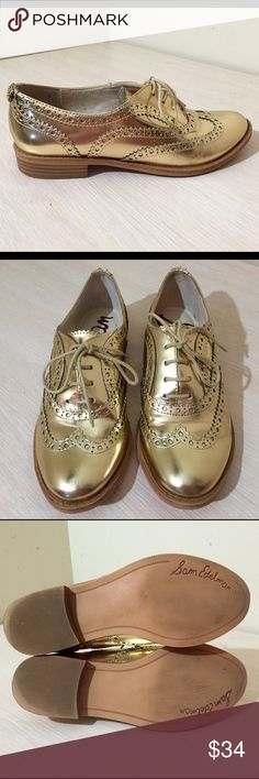 Sam Edelman oxfords Gold oxfords in great condition worn before but only sign of ware is on the bottoms Sam Edelman Shoes Flats & Loafers