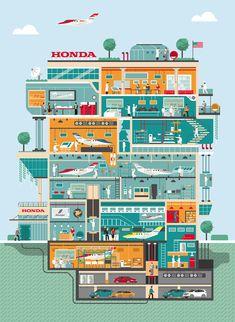 Honda Jet - Factory illustration by Arunas Kacinskas
