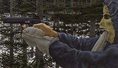 David Alexander Colville, O.C. (Canadian, born 1920) In the Woods inscribed 'IN THE WOODS, ALEX COLVILLE, 1976 acrylic polymer emulsion' on the reverse acrylic polymer emulsion on board 59.3 x 34.3cm (23 3/8 x 13 1/2in). (Alex Colville/AC Fine Arts)