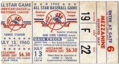 1960 All Star Game Ticket Stub Yankee Stadium stub