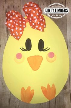 Unfinished Easter egg wood door hanger. Painted into a chick by one of our customers. Buy 5 get 1 Free $10