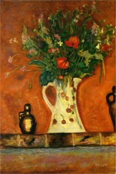 Flowers on a Mantlepiece by Pierre Bonnard  Art Experience NYC  www.artexperiencenyc.com