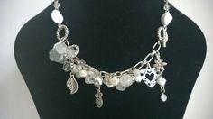 Vintage / Retro style silver coloured chain with various charms - colours - white, silver and clear by ThePemburyEmporium on Etsy