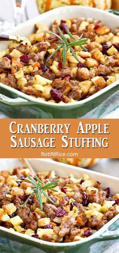 This sweet and savory Cranberry Apple Sausage Stuffing is a delicious complement to your Thanksgiving turkey featuring the wonderful flavors of the season. Apple Recipes Dinner, Cranberry Recipes, Side Dish Recipes, Holiday Recipes, Breakfast Recipes, Pumpkin Recipes, Christmas Recipes, Christmas Crafts, Chicken Apple Sausage