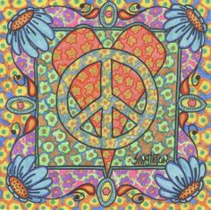 ☮ American Hippie Art ~ Heart Peace Sign