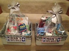 """Mom and Dad """"to be"""" hospital survival kits. Mom and Dad """"to be"""" hospital s. Mom and Dad """"to be"""" hospital survival kits… Mom and Dad """"to be"""" hospital survival kits… Girl Gift Baskets, Baby Shower Gift Basket, Themed Gift Baskets, Baby Shower Gifts, Baby Gifts, New Mom Gift Basket, Baby Baskets, New Dad Survival Kit, Girl Survival Kits"""