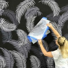 Palm Fronds Stencil Kit – Tropical leaf stencil designs for trendy home decor A Midnight Tropical Accent Wall using Palm Fronds Stencils Stencil Wall Art, Wall Stencil Patterns, Leaf Stencil, Diy Wall Painting, Stencil Designs, Tile Stencils, Painting Stencils, Flower Stencils, Wallpaper Stencil