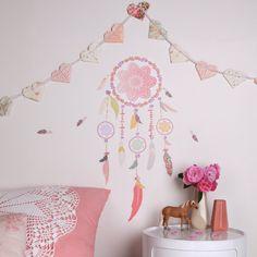Stickers attrape rêves rose : Love Maé - Stickers déco - Berceau Magique