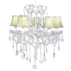 Carousel 5 Light Chandelier  - Dripping with crystals and wrapped in clear beads, our Carousel 5 Light Chandelier will add a sparkling glow to your little one's room. Forming a heart shape in the center, this dazzling chandelier is sure to impress one and all.