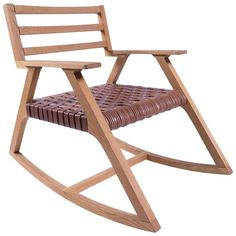 Giacomo Rocking Chair in Oak with Woven Leather Seat | From a unique collection of antique and modern rocking chairs at https://www.1stdibs.com/furniture/seating/rocking-chairs/