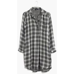 MADEWELL Latitude Shirtdress in Kemp Plaid ($70) ❤ liked on Polyvore featuring dresses, tops, shirts, flannel, almost black, plaid dress, plaid flannel dress, long shirt dress, tartan shirt dress and shirt dresses