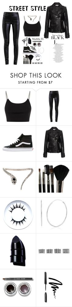 """Street Style Edgy All Black ♠️🖤"" by pattimayoisversatile on Polyvore featuring Alexander Wang, Helmut Lang, Vans, IRO, Roberto Cavalli, Glamour Status, Anastasia Beverly Hills, Maison Margiela and Bobbi Brown Cosmetics"