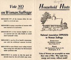 No on women's suffrage flyer