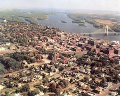 Burlington Iowa  Mississippi River - An aerial view of this small city that is featured in all three of the Matchmaking Motor Coach books.