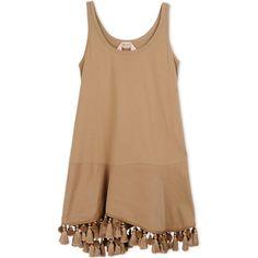 N° 21 Short Dress (€780) ❤ liked on Polyvore featuring dresses, vestidos, tops, khaki, jersey dress, sleeveless cotton dress, cotton jersey, cotton jersey dress and beige short dress