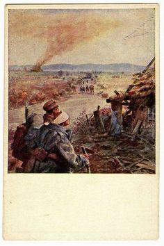"""""""Після бою"""" Листівка. 1918. Осип Курилас, Україна"""