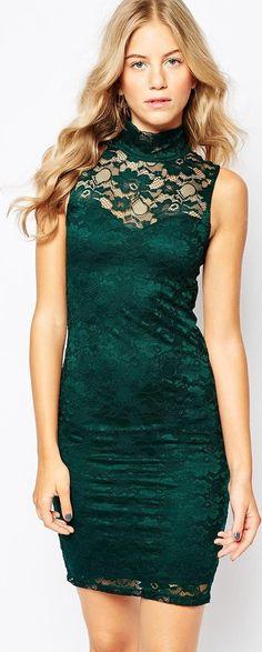 Vestido de encaje verde ajustado con cuello alto asos, amazon colección otoño/invierno 2015 - Stileo.es