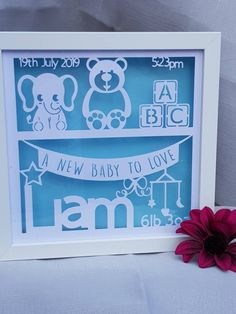 New Baby Bookshelf Papercut Gift Frame Personalised Box Picture Frame Cricut Picture Frames, Box Picture Frames, Box Frames, Baby Shower Gifts For Boys, Baby Gifts, Light Up Balloons, Frame Crafts, Craft Frames, Baby Boy Birth Announcement