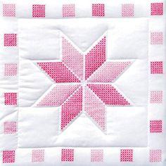 """Stamped White Quilt Blocks 18""""X18"""" 6/Pkg- Star"""
