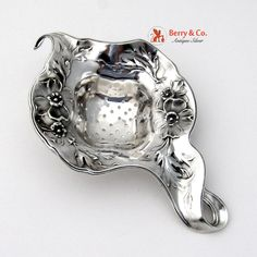 Art Nouveau Floral Tea Strainer International Sterling Silver 1900