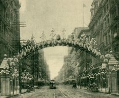 Street Illuminations, St. Louis, Fall of 1892. The Presidential Arch. (Broadway north of Chestnut Street).