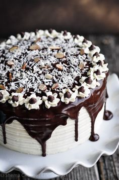 Almond Joy Cake (Layered chocolate cake with coconut filling, almonds, coconut buttercream