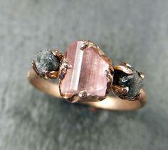 Raw Pink Tourmaline Diamond 14k Rose Gold Engagement Ring Wedding Ring One Of a Kind Gemstone Ring Bespoke Three stone Ring byAngeline