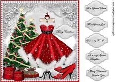 Mrs Santa s Dress on Craftsuprint designed by Marijke Kok - Very beautiful christmas topper with a gorgeous christmas dress for mrs.santa in red with music notes,shoes,pearls,christmas trees on a silver/red background....stunning!! - Now available for download!