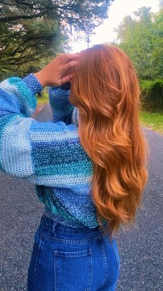 Blonde Hair Looks, Sweater Refashion, Copper Hair, Red Hair Color, Crochet Projects, Crochet Ideas, Fashion Sketches, Hair Inspo, New Hair