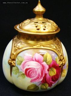 Lot 388 - Royal Worcester potpourri jar with handpainted Roses by J Ansell - dated 1952 - approx 12cms H