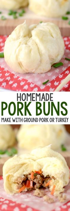 chinese food Homemade Pork Buns are better than takeout! This EASY recipe makes your favorite Chinese food at home using ground turkey or pork. We love these! Pork Recipes, Asian Recipes, Cooking Recipes, Turkey Recipes, Turkey Food, Chinese Recipes, Easy Recipes, Recipies, Eating Carrots