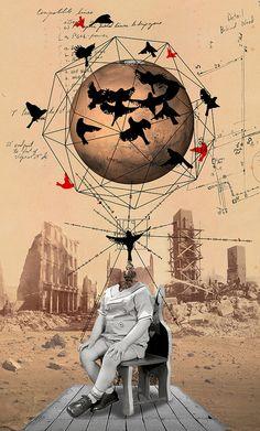 Kacper Kieć - projects showcase False Prophet - collaboration with Franz Falckenhaus Collages, Surreal Collage, Collage Art, Collage Illustration, Illustrations, Photomontage, Arte Obscura, Grafik Design, Digital Collage