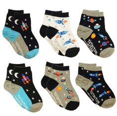 Premium Cotton 6 Pair Pack Space Travel Socks