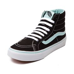 Lace up your laid back look with the Sk8 Hi Slim Skate Shoe from Vans! The Vans Sk8 Hi Slim Skate Sneaker features a hi-top, low profile, design constructed with breathable canvas uppers, and padded ankle for support. Available only online at Journeys.com and SHIbyJourneys.com!