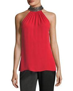 Ramy Brook Veronica Beaded Mock-neck Silk Halter Top In Red Ramy Brook, True Red, Silk Crepe, Silk Top, Mock Neck, Veronica, How To Wear, Clothes, Halter Tops