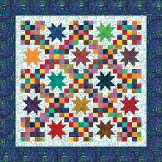 """Moda Breezy Batiks Star Quilt Kit 66"""" by 66"""" Stars and squares shine in colorful Breezy Batiks. This easy quilt pattern creates a 66"""" by 66"""" finished quilt. Hancock's quilt kit includes the fabrics for the top and binding as well as the pattern. Freshly cut. Free pattern download."""