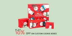 Order now and get flat 10% discount on your custom cookie boxes. book your order at 888-851-0765 or get a free custom quote. Custom Packaging, Box Packaging, Cookie Box, Custom Cookies, Custom Boxes, Merry Christmas, Quote, Flat, Books