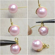Make Pearl Drop Earrings Many of you may fancy pink pearls. So today I would like to make a pair of pink pearl drop earrings that are full of femininity and elegance. Below is shown the steps about how to make pearl drop earrings. Wire Jewelry Designs, Jewelry Patterns, Jewelry Crafts, Jewelry Trends, Jewelry Ideas, Diy Schmuck, Schmuck Design, Bead Jewellery, Beaded Jewelry