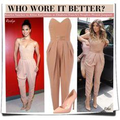 Who Wore It Better?Roselyn Sanchez vs. Khloe Kardashian in Elisabetta Franchi's Strapless Pleated Jumpsuit