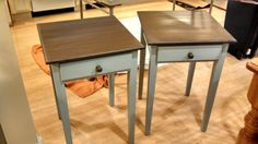 Custom painted end tables. Blue/gray chalk paint with brown faux painted and glazed tops.