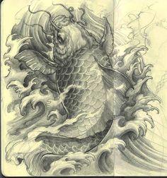 Koi fish Sketch by David Hoang. Dog Tattoos, Animal Tattoos, Kio Fish Tattoo, 10 Tattoo, Tattoo Art, Animal Sleeve Tattoo, Koi Tattoo Design, Fish Sketch, Fish Drawings