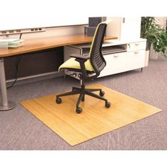fd05654cfda 48 x 42 Natural Bamboo Roll-Up Chair Mat Home Office Desks