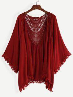 Burgundy Lace Trimmed Crochet Insert Kimono