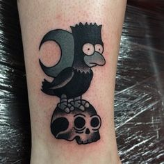 mourningstar:  2nd from den of iniquity Edinburgh #realtattoos #realtraditional #uktta #besttradtattoos #bartsimpson #nevermore