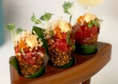 Spicy Tuna Tartare in Sesame Miso Cones. Ready for the challenge of making them yourself? Click for the #recipe!