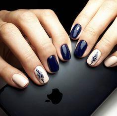 Lovely dark blue and white nails - ChicLadies.uk Lovely dark blue and white nails - ChicLadies. Nail Manicure, Diy Nails, Cute Nails, Nail Polish, Stylish Nails, Trendy Nails, Blue And White Nails, Asian Nails, Nail Trends