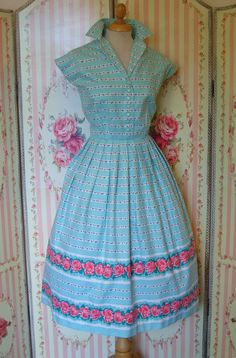 *** DESCRIPTION *** Original vintage 1950s day dress from the collectable British label St. Michael, made from a gorgeous striped rose