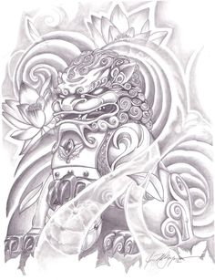 Foo Dog Statue Drawing Foo dog statue tattoo foo dog
