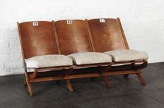 Antique Vintage Stadium Theater Seats Seating Chair Wood Folding | eBay