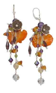 "It's raining gems! ""Opulence,"" an opulent pair of earrings dripping with silver and gemstone, are a beautiful inspiration. See the details.  Jewelry Design - Earrings with Gotu Kola Leaves, Hill Tribes Silver Flower and Gemstone Beads - Fire Mountain Gems and Beads"